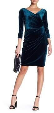 Betsey Johnson Faux Wrap Velvet Sheath Dress
