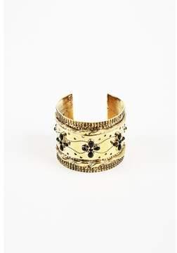 Aurelie Bidermann 18k Gold Plated Black Enamel cheyenne Cuff Bracelet.