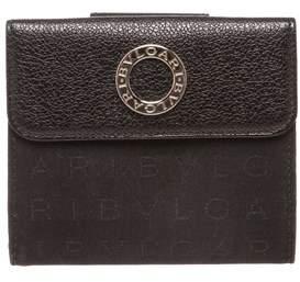 Bvlgari Black Canvas Leather Trim Snap Closure Small Wallet.
