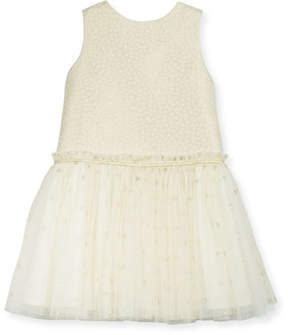 Luli & Me Drop-Waist Dotted Tulle Dress, Size 2-6X
