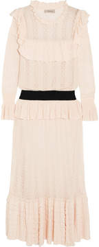 Temperley London Cypre Ruffled Pointelle-knit Midi Dress - Cream