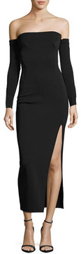 Camilla And Marc Twiggy Off-the-Shoulder Midi Cocktail Dress, Black