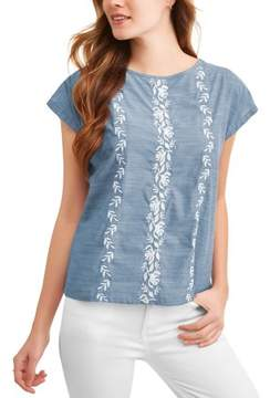 Caribbean Joe Women's Embroidered Dolman Chambray Top