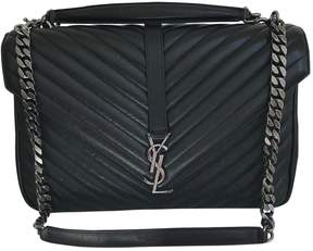 Saint Laurent Collége monogramme leather satchel - BLACK - STYLE