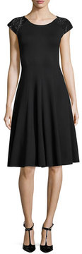 Armani Collezioni Milano Jersey Fit & Flare Dress with Embellished Cap Sleeves, Black