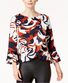 Bar III Printed Ruffled Top, Created for Macy's