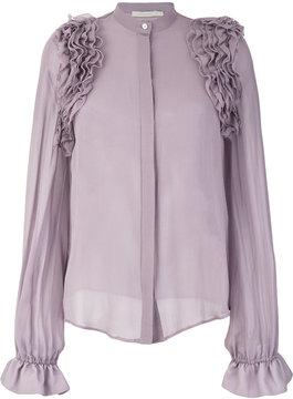 Amen sheer frill blouse