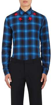 Givenchy Men's Star-Embroidered Plaid Poplin Shirt