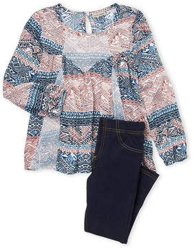 Lucky Brand Girls 4-6x) Two-Piece Mesh Paneled Peasant Top & Jeggings Set