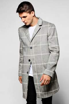 boohoo Grey Wool Mix Check Overcoat