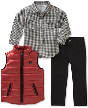 Calvin Klein 3-Pc. Puffer Vest, Check Shirt & Pants Set, Baby Boys (0-24 months)