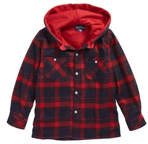 Andy & Evan Toddler Boy's Andy & Even Hooded Flannel Shirt