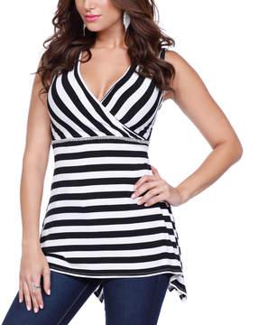 Belldini Black & White Stripe Surplice Top - Women