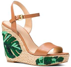 Michael Kors MICHAEL Women's Jill Beaded Leather Platform Wedge Sandals - 100% Exclusive