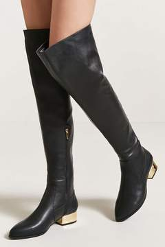 Forever 21 Faux Leather Over-the-Knee Boots