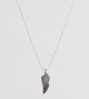 Reclaimed Vintage Inspired Necklace With Wing Pendant