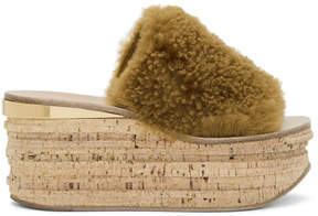 Chloé Brown Shearling Camille Sandals