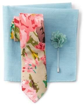 Original Penguin Visser Floral Tie, Pocket Square, & Lapel Pin Set
