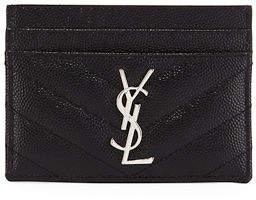 Saint Laurent Monogram Matelassé Leather Card Case - BLACK - STYLE