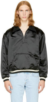 Fear Of God Black Satin Half-Zip Coaches Jacket