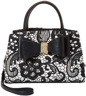 Betsey Johnson Lady Lace Convertible Bow Satchel with Clutch