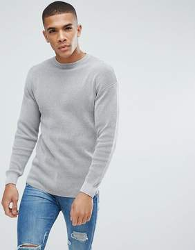 New Look Textured Knit Sweater In Light Gray