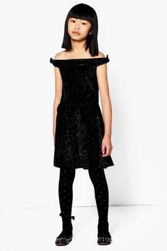 boohoo Girls Sparkle Velour Bardot Dress