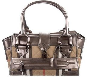 Burberry Leather-Trimmed Nova Check Bag - BROWN - STYLE
