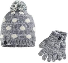 Cuddl Duds Girls Polka-Dot Pattern Knit Beanie Hat & Gloves Set