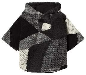 Ikks Grey Knit Hooded Poncho