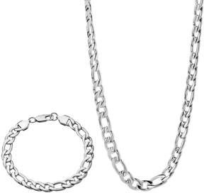 Lynx Stainless Steel Figaro Chain Necklace & Bracelet Set - Men