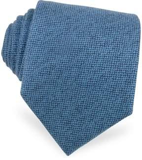 Forzieri Solid Sky Blue Cashmere Extra-Long Tie