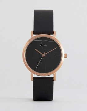 Cluse La Roche Marble Black & Rose Gold Leather Watch