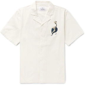 Folk + Goss Brothers Pelican Camp-Collar Printed Cotton-Twill Shirt