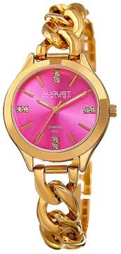August Steiner Pink Dial Ladies Gold Tone Watch