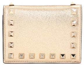 Valentino Rockstud metallic leather wallet