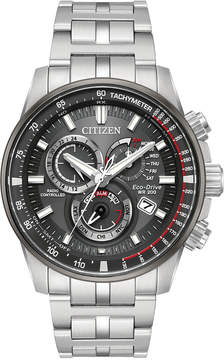 Citizen Eco-Drive Men's Perpetual Chronograph Silver-Tone Stainless Steel Bracelet Watch 43mm