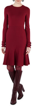 Akris Punto Knit Wool Ruffle-Cuff Dress
