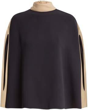 Valentino Cape-sleeve tie-neck silk-crepe blouse