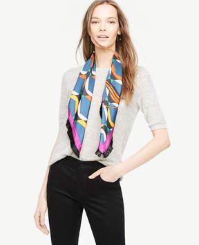 Ann Taylor Floral Stripe Silk Fringe Scarf