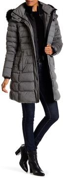 Andrew Marc Carly Genuine Fox Fur Quilted Long Jacket
