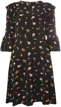 Dorothy Perkins **Tall Black Floral Print Ruffle Skater Dress