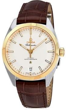Omega Constellation Silver Dial Brown Leather Automatic Men's Watch
