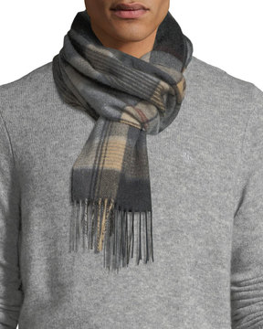 Neiman Marcus Cashmere Waterweave Plaid Fringe Scarf