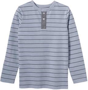 Joe Fresh Kid Boys' Stripe Henley Tee, Light Blue Mix (Size XL)