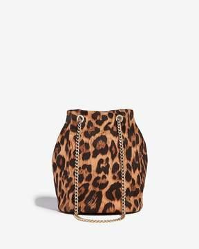 Express Leopard Chain Handle Bucket Bag