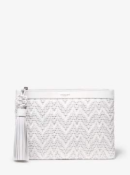 Michael Kors Loren Woven Leather Pouch - OPTIC WHITE - STYLE