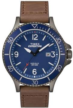 Timex Men's Expedition Ranger Brown/Gunmetal/Blue Watch, Leather Strap