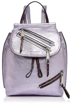 Marc Jacobs Zip Pack Embossed Trim Metallic Leather Backpack - METALLIC LILAC MULTI/GOLD - STYLE