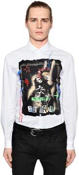 Just Cavalli Printed Cotton Poplin Shirt W/ Studs